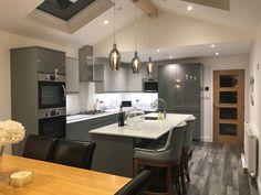 Kitchen Inspiration, Kitchen Ideas, Kitchen With High Ceilings, Howdens Kitchens, Free Kitchen Design, Diner Ideas, Open Plan Kitchen Living Room, Share Photos, Extension Ideas