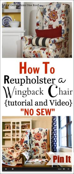 How to reupholster a wingback chair. NO Sew + use a hand staple gun. This is an inexpensive way to give a chair a fresh new look in an afternoon.