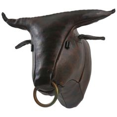 Faux Taxidermy Leather Bull Mount by Omersa | From a unique collection of antique and modern wall-mounted sculptures at http://www.1stdibs.com/furniture/wall-decorations/wall-mounted-sculptures/