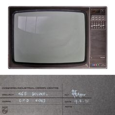 Classic Philips house style rendering on grey canson paper by Ian Edgar for the 465 Deluxe colour television.    This is the TV we had when I was growing up (in white).