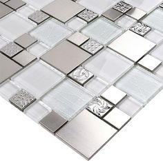 Glass mosaic tile backsplash SSMT110 silver metal mosaic stainless steel mosaic tiles sheet stainless steel mosaic glass tiles [SSMT110] - $24.73 : MyBuildingShop.com