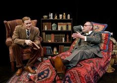 Freud's Last Session makes its Seattle debut at the Taproot Theatre. Matt Shimkus plays the ever-questioning C.S. Lewis and Nolan Palmer reclines on the infamous couch as Dr. Freud.