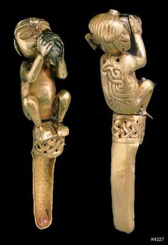 CHAVIN   Chavin de Huántar. gold and silver. Effigy spoon. Shaman with eagle embossed on back. Published Andean Art at Dumbarton Oaks. p.55. Dumbarton Oaks, Washington, DC. height 11.1 cm.