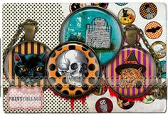 HALLOWEEN  Digital Collage Sheet 1.5inch 18mm 14mm by PrintCollage