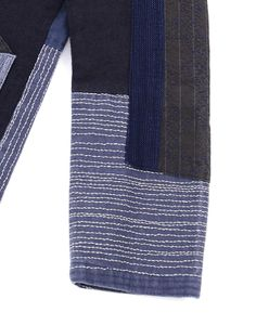 SASHIKO STITCHING JACKET - Indigo-waffle weave Japanese handstitch-needlework and patchwork composition of different fabrics such as indigo-waffle weave cotton, cotton and wool. Shawl colllar Patch pocket folded like origami-folding Ball-washed