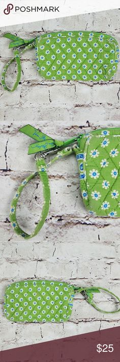 Vera Bradley Wristlet Apple Green Retired Clutch Vera Bradley Wristlet Apple Green Retired Clutch  Pattern - Floral Colors - Green, White and Blue  One inside Pouch  EUC - Excellent Used Condition.  Shows minimal signs of wear.  Zipper shows some wear. Vera Bradley Bags Clutches & Wristlets