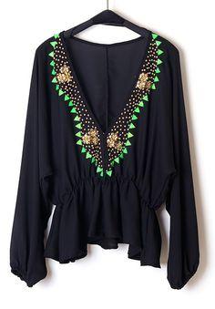 Black Long Sleeve Bead Flower Embellished Blouse - Sheinside.com
