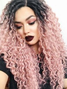 Balck To Pink Ombre Curly Long Synthetic Lace Front Wig - October 19 2019 at Long Thin Hair, Long Curly Hair, Curly Hair Styles, Natural Hair Styles, Blond Ombre, Brown Ombre Hair, Ombre Hair Color, Blonde Pink, Brown Blonde
