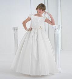 Nectarean Sheath/Column Jewel Short Sleeve Lace Ruffles Sashes/Ribbons Floorlength Lace Satin Organza Tulle Flower Girl Dresses