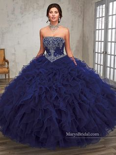 Strapless Ruffled Quinceanera Dress by Mary's Bridal Princess 4Q507