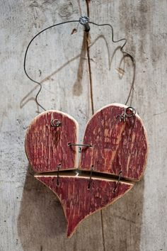 "Wooden ""Patched heart"" :: Could do other shapes for Christmas!!"