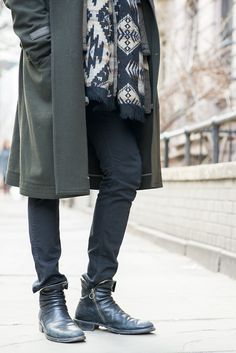 Y's by Yohji Yamamoto wool green tench coat and Fiorentini+Baker boots