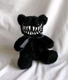 Mini Smiling Black Monster Teddy Bear- Toothsome and Fabulous Creepy Toys, Creepy Cute, Kawaii Plush, Cute Plush, Creepy Stuffed Animals, Little Doll, Cute Toys, Plush Dolls, Plushies