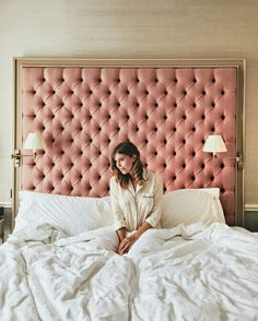 24 Budget-Friendly Ways To Refresh Your Bedroom :: an oversized pink framed headboard will become an elegant statement decoration Furniture, Upholstered Headboard, Pink Headboard, Bedroom Design, Bedroom Furniture, Bed, Luxury Bedding, Rustic Bedroom, Bedroom Headboard