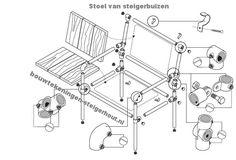 Maak zelf een stoel met steigerbuizen en buiskoppelingen, gratis bouwtekening.