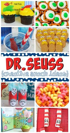 Seuss Craft Ideas, Printables and Recipes Creative Dr. Seuss Craft Ideas, Printables and Recipes. Great for Dr. Suess Day on March or a Dr. Dr. Seuss, Dr Seuss Week, Dr Seuss Snacks, Dr Seuss Activities, Party Activities, Party Games, Sequencing Activities, Lorax, Dr Seuss Birthday Party