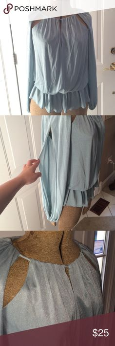 Boston Proper top Shimmery blouse with multiple slits - slit sleeves, slit in back, slit near collar. Best worn with a strapless bra. Also features a pleated waist. Boston Proper Tops Blouses