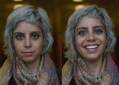 La cara de una de las chicas antes y después de escuchar algo agradable