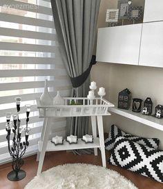 Çiçeklik, Ikea, Minder, Modern stil, Perde, Salon, Siyah-beyaz, Tv ünitesi