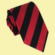 Scarlet Red Black Stripes Formal Boys Ages 7-13 Wedding Straight Boys Neck Tie