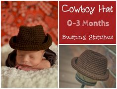 0-3 Month Cowboy Hat Fan Request Friday The pattern below can be viewed forFREE or you can purchase the PDF for $1 Materials: Red Heart Super Saver 2 colors Yarn Needle Size I 5.5 mm hook Abbreviations: Sl st-Slip Stitch Ch-Chain Sc-Single Crochet Ch 7, sc into the 2nd chain from the hook, sc into … Baby Cowboy Hat, Cowboy Crochet, Hat Tutorial, Crochet Scarves, Crochet Clothes, Super Saver, Newborn Crochet, Crochet Baby Booties, Crochet Beanie