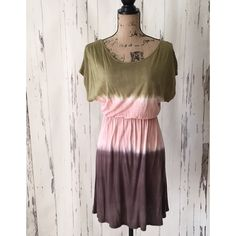 """Olive Green, Peach & Brown Dress or Beach Cover-up Perfect summer dress to wear out or as a beach coverup.   100% Rayon  19""""from the waistband to hem  Gently loved - worn one time Dresses"""