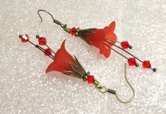 Jewelry Earrings Red Scarlet Lucite Lily by SpiritCatDesigns, $5.00