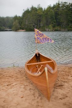just married wedding canoe / http://www.deerpearlflowers.com/rustic-canoe-wedding-ideas/