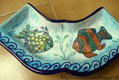 #Antipastiera di #ceramica dipinta a mano #Italy http://ceramicamia.blogspot.it/2016/08/antipastiera-di-mare.html