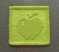 APPLE Knit Dishcloth or Wash Cloth ~ Lime Green 100% Cotton . Hand Knitted Unique Design.  Teacher Gift . Hostess Gift . Unique Gift
