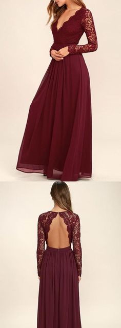 Elegant Burgundy A-line V-neck Long Sleeves Lace Chiffon Prom Dress #burgundypromdresses #prom #dresses #longpromdress #promdress #eveningdress #promdresses #partydresses