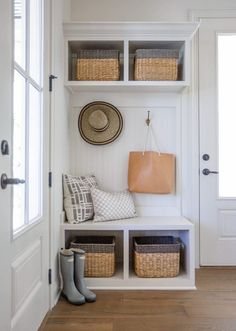 Mudroom Entryway Ideas that are Both Functional & Stylish | A mudroom is a highly practical space for storage, drop zones for phones keys and wallets, but that doesn't mean it can't also be beautiful. Here are some ideas to make your entryway efficient and pretty.