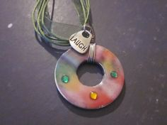Decoupage Washer Necklace With Embelishment