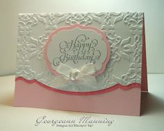 handmade birthday card ... clean and simple lines ... rich texture from embossing folder ... luv the shaped edge line lined in darker pink ... feminine card ... Stampin' Up!