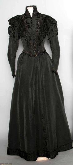 BLACK SILK DRESS, c. 1898 2-piece w/ jet bead  lace trim; t/w 1 c. 1910 blue silk  lace dress.