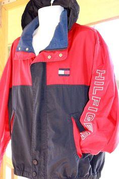 Vintage Tommy Hilfiger Jacket Large L 90s Color Block Windbreaker with Tuck Hood #TommyHilfiger #BasicCoat