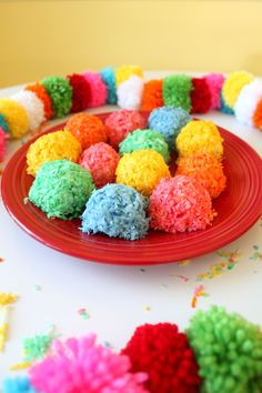 Pom Pom Cookies- Paint the Gown Red Ingredients  1 cup sweetened flaked coconut 1 cup all-purpose flour 1 1/4 cups confectioners' sugar Pinch of salt 6 tablespoons unsalted butter 1 teaspoon vanilla extract 4 teaspoons milk Assorted Food Dye