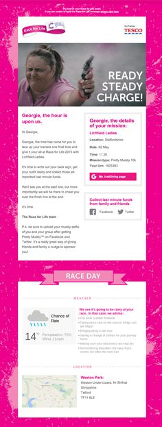 Cancer Research UK personalized this email to to show weather conditions for their Race for Live 2015 event.