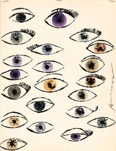 Andy Warhol; 'Untitled' (Eyes), 1950