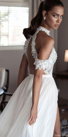 elihav sasson spring 2018 bridal high neck cold shoulder drape sleeves beaded bodice slit skirt a line wedding dress (vj 005) bv open back modern -- Elihav Sasson 2018 Wedding Dresses | Wedding Inspirasi #wedding #weddings #bridal #weddingdress #bride ~