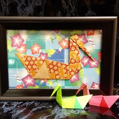 Origami Swan Art in 4x6 Frame Charming and Whimsical by LeNoirBleu