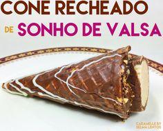 Cone recheado de Sonho de Valsa com ganache de chocolate e creme de amendoim