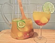 Fruity White Wine Sangria, healthy recipe from The Fit Cook.