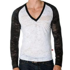 SKINNY Core Baseball Tee by Andrew Christian in White/Black