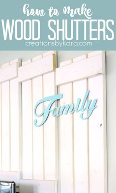 DIY Wood Shutters- this step by step tutorial shows you how to make them! Farmhouse shutters are easy to make and look fabulous! #woodshutters #farmhousedecor #diyshutters #farmhousestyle -from Creations by Kara