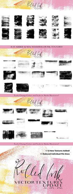 Rolled Ink Vector Textures. Textures