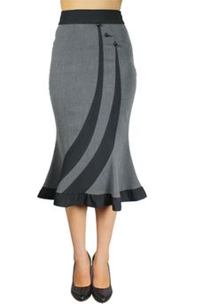 Vintage 60's Wiggle Office Lady Gray Pecil bottom ruffle skirt
