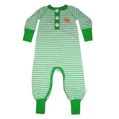 Knotsknetter - Albababy Arian speelpak groen gestreept - Meisjes