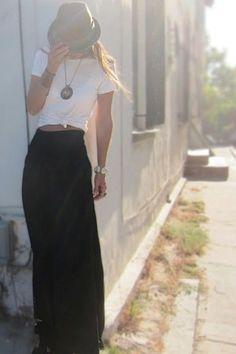 Long, slender black skirt + fedora + white crop top