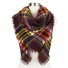 Women's Plaid Blanket Wrap Scarf Brown - Sylvia Alexander